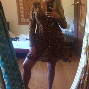 pell & the gypsy Saphari leopard gown shortened M